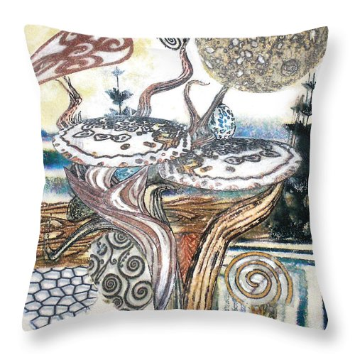 Abstract Throw Pillow featuring the painting Luna 3 by Valerie Meotti