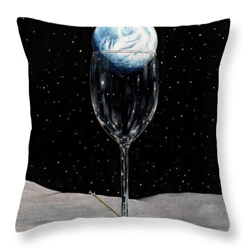 Moon Earth Space Cocktail Glass Art Bruce Lennon Art Throw Pillow featuring the painting Lunar Cocktail by Bruce Lennon