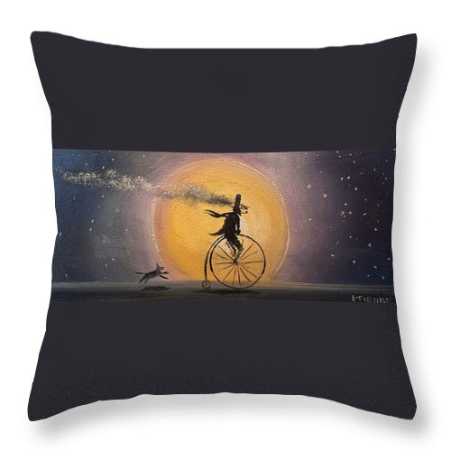 New From The Artist Throw Pillow featuring the painting Lunar Cycle by Jason Etienne