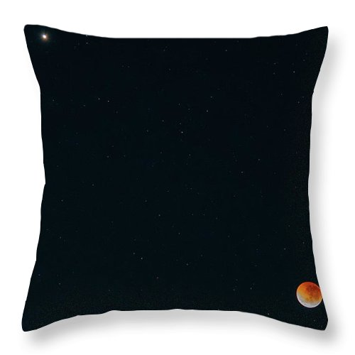Astro Throw Pillow featuring the photograph Lunar Eclipse, Full Moon, Red Moon And Mars by Merrillie Redden