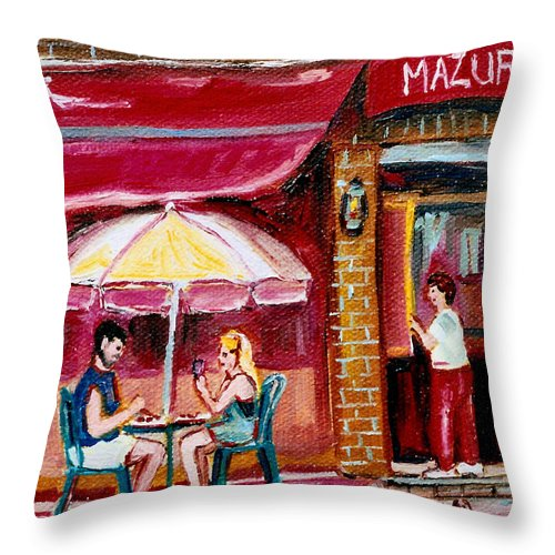 Mazurka Restaurant Throw Pillow featuring the painting Lunch At The Mazurka by Carole Spandau