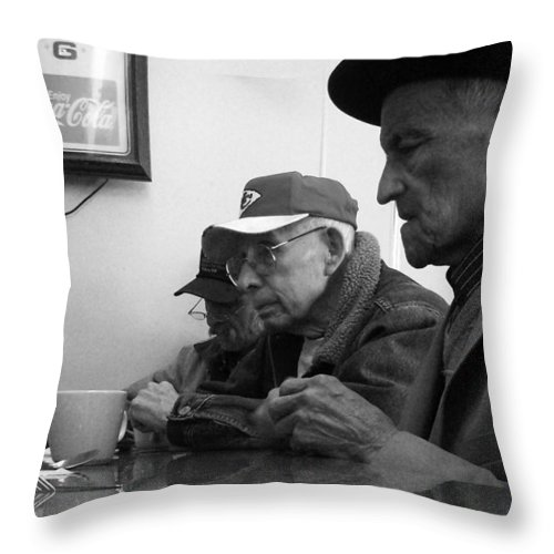Diner Throw Pillow featuring the photograph Lunch Counter Boys - Black And White by Tim Nyberg