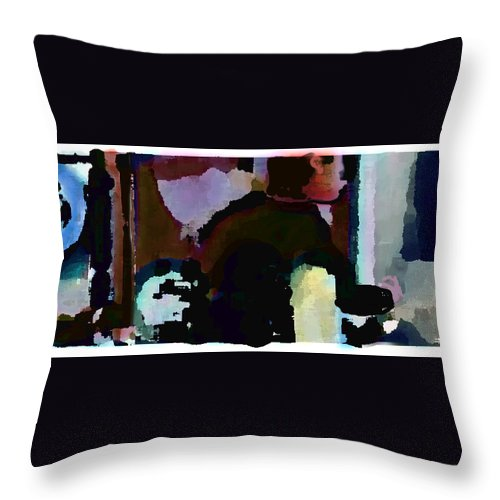Abstract Expressionism Throw Pillow featuring the painting Lunch counter by Steve Karol