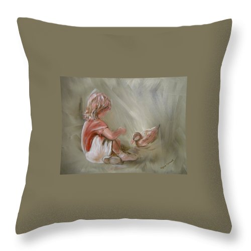 Girl Throw Pillow featuring the painting Lunch Pals by Regina Walsh