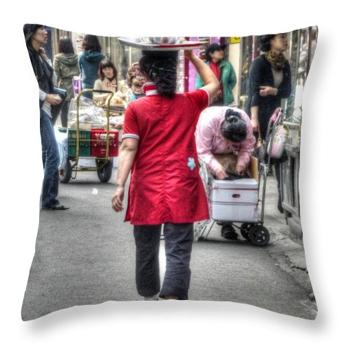 Seoul Throw Pillow featuring the photograph Lunch Run In Namdaemun by Michael Garyet