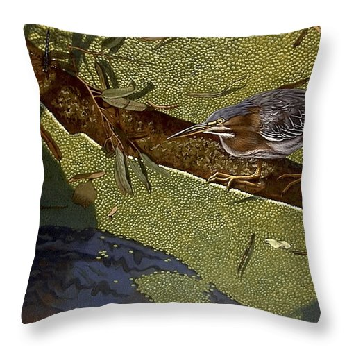 Landscape Throw Pillow featuring the painting Lunch Time by Peter Muzyka