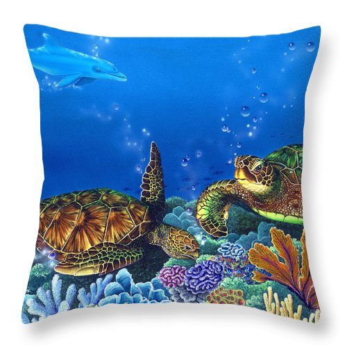 Turtles Throw Pillow featuring the painting Lunchtime by Angie Hamlin