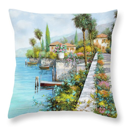 Lake Throw Pillow featuring the painting Il Lungo Lago by Guido Borelli