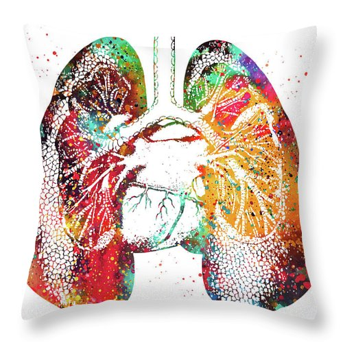 Lungs And Heart Throw Pillow featuring the digital art Lungs And Heart by Erzebet S