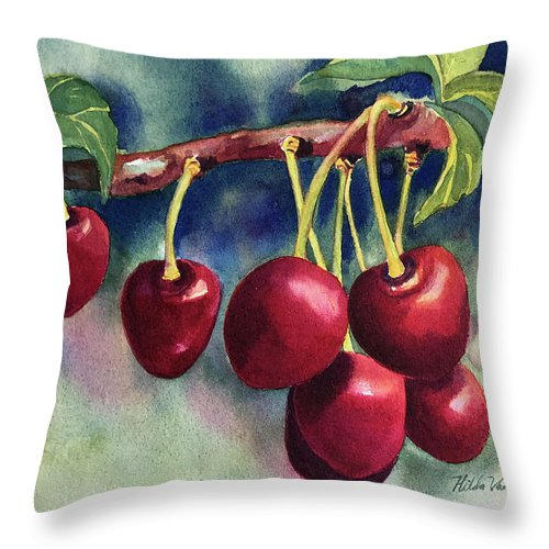 Cherry Throw Pillow featuring the painting Luscious Cherries by Hilda Vandergriff