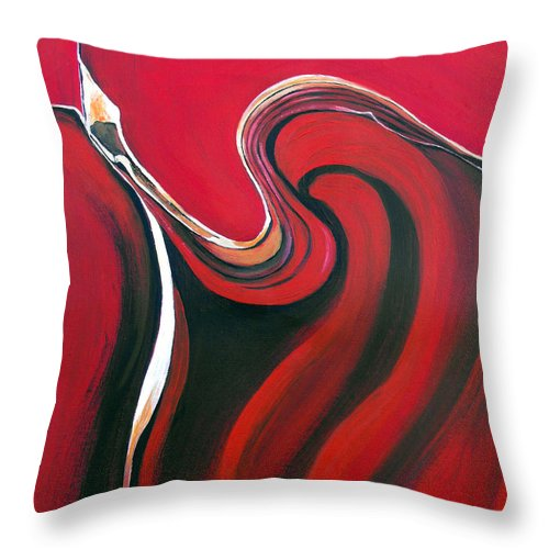 Abstract Throw Pillow featuring the painting Luscious Red by Ruth Palmer