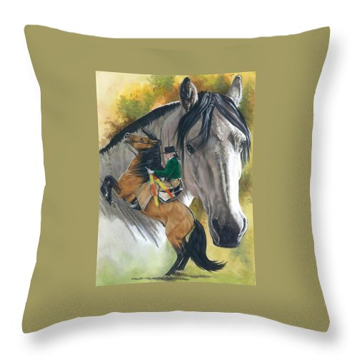 Hoof Stock Throw Pillow featuring the mixed media Lusitano by Barbara Keith