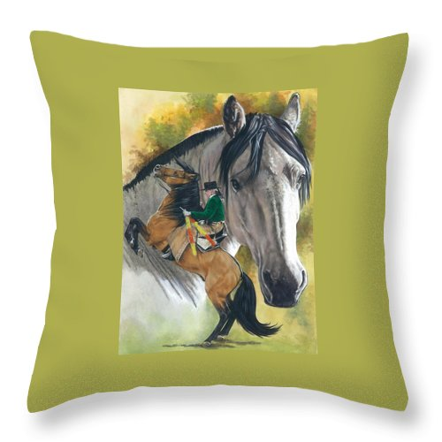 Horses Throw Pillow featuring the mixed media Lusitano by Barbara Keith