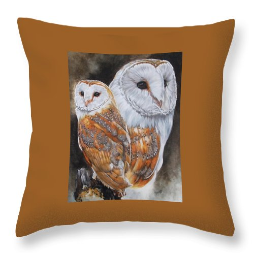 Bird Throw Pillow featuring the mixed media Luster by Barbara Keith