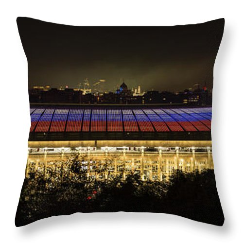 Championship Throw Pillow featuring the photograph Luzhniki Stadium At Summer Night Against The Background Of The Ministry Of Foreign Affairs, The Cath by Oleg Ivanov