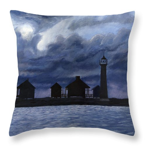 Landscape Throw Pillow featuring the painting Lydia Ann Lighthouse by Adam Johnson