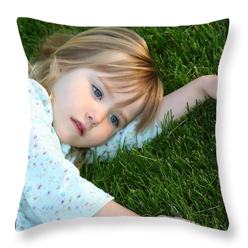Girl Throw Pillow featuring the photograph Lying In The Grass by Margie Wildblood