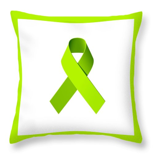 Lyme Disease Awareness Throw Pillow featuring the photograph Lyme Disease Awareness Ribbon by Laura Michelle Corbin