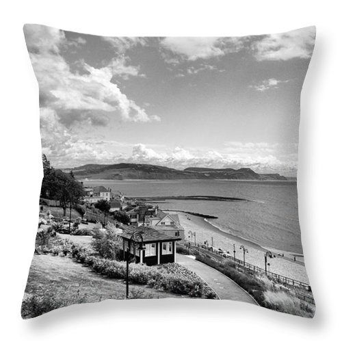 Blackandwhitephotography Throw Pillow featuring the photograph Lyme Regis And Lyme Bay, Dorset by John Edwards