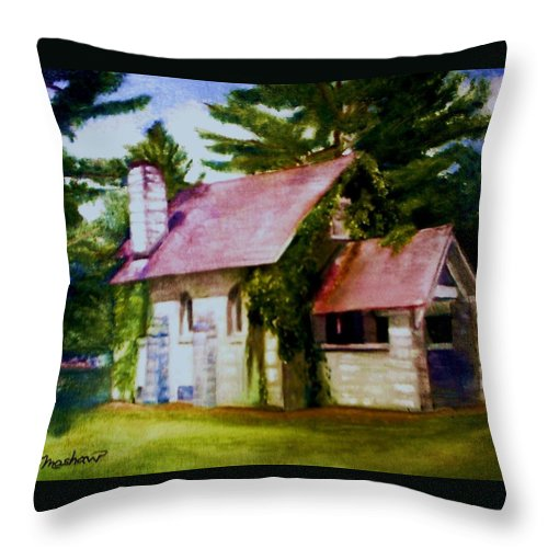 Church Throw Pillow featuring the painting Lyons Falls Church by Sheila Mashaw