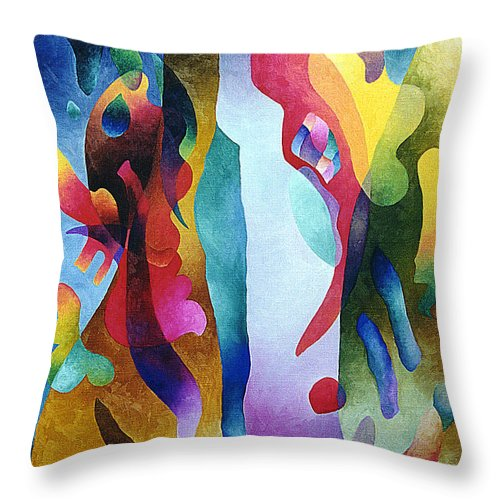 Abstract Throw Pillow featuring the painting Lyrical Grouping by Sally Trace