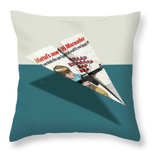 c308f600ec97 Advertising Throw Pillow featuring the digital art M-16 Toy Machine Gun Comic  Book Ad