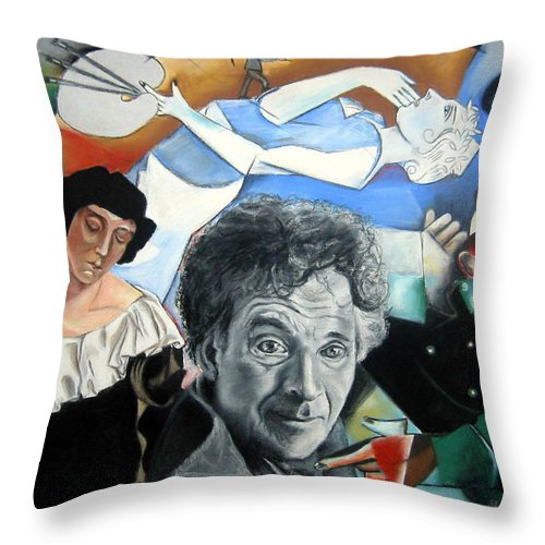 Chagall Portrait Throw Pillow featuring the drawing M Chagall by Leyla Munteanu