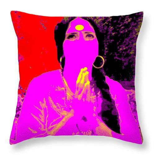 Square Throw Pillow featuring the digital art Ma Jaya Sati Bhagavati 16 by Eikoni Images