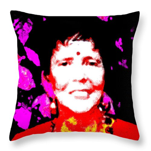 Square Throw Pillow featuring the digital art Ma Jaya Sati Bhagavati 6 by Eikoni Images