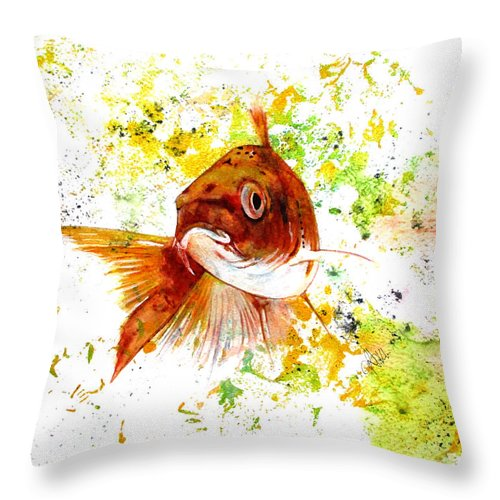 Ocean Throw Pillow featuring the drawing Ma Koi by Rita Silva