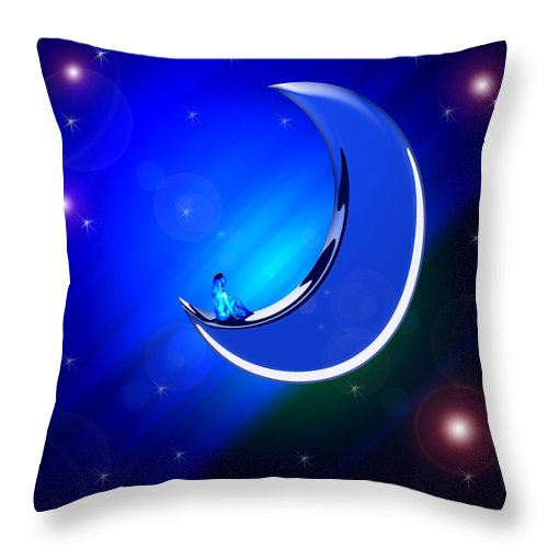 Moon Woman Dream Sky Night Stars Nude Universe World Lady Girl Fantasy Throw Pillow featuring the digital art Ma Moon by Andrea Lawrence