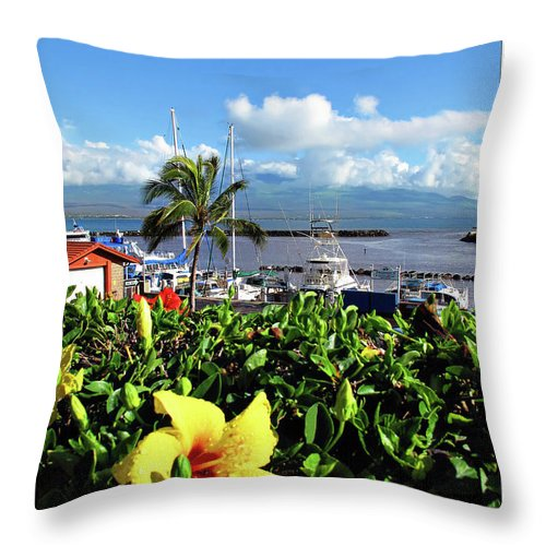 Boat Throw Pillow featuring the digital art Maalaea Boat Harbor by Joan Minchak