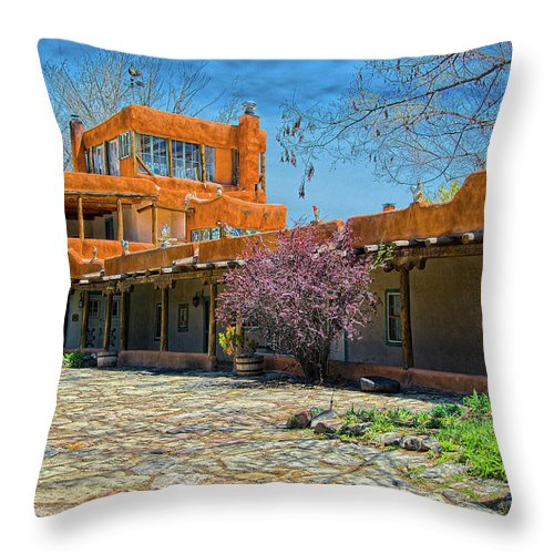 Mabel Throw Pillow featuring the photograph Mabel's Courtyard by Charles Muhle
