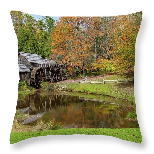 Reflection Throw Pillow featuring the photograph Mabry Mill In Fall 1 by Kevin Craft