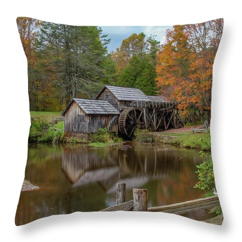 Fence Throw Pillow featuring the photograph Mabry Mill In Fall 2 by Kevin Craft