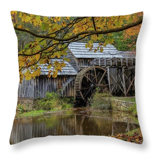 Fall Throw Pillow featuring the photograph Mabry Mill In Fall 3 by Kevin Craft