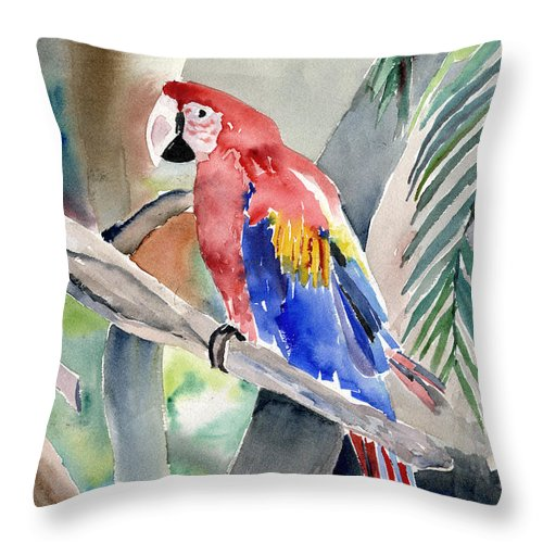 Macaw Throw Pillow featuring the painting Macaw by Arline Wagner