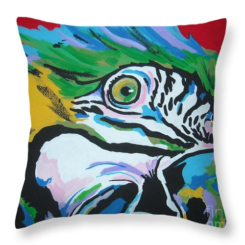 Macaw Throw Pillow featuring the painting Macaw by Caroline Davis