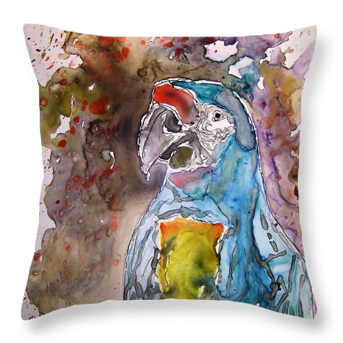 Parrot Throw Pillow featuring the painting Macaw Parrot by Derek Mccrea