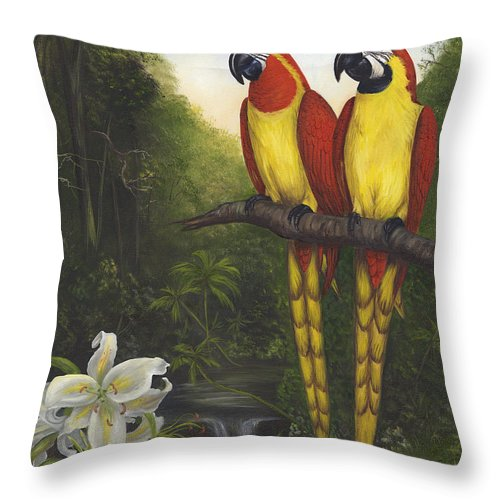 Landscape Throw Pillow featuring the painting Macaws And Lillies by Anne Kushnick