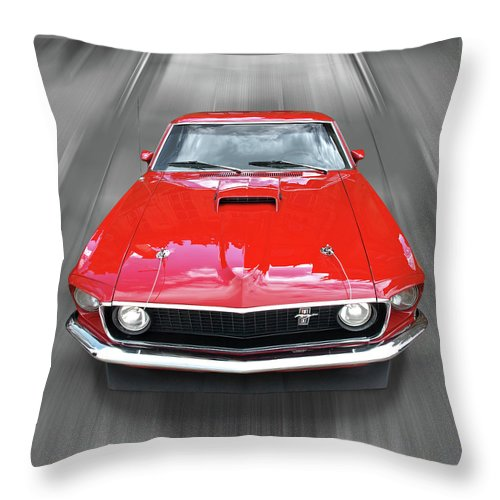 Classic Ford Mustang Throw Pillow featuring the photograph Mach1 Mustang 1969 Head On by Gill Billington