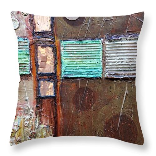 Abstract Collage Throw Pillow featuring the painting Machine Shop 1 by Ginger Concepcion