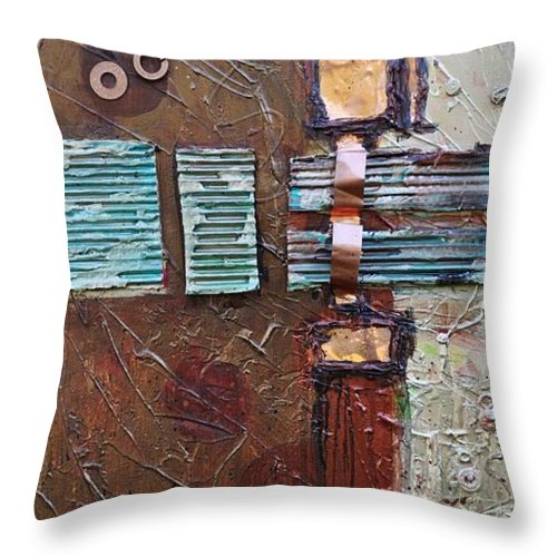 Metal Abstract Throw Pillow featuring the painting Machine Shop 2 by Ginger Concepcion