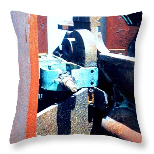 Rust Throw Pillow featuring the photograph Machinery by Ian MacDonald