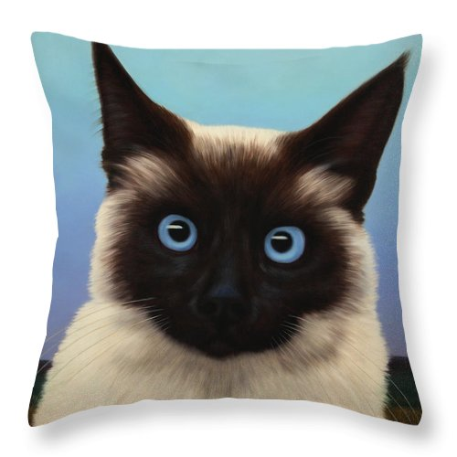 Cat Throw Pillow featuring the painting Machka 2001 by James W Johnson