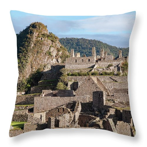 Inca Trail Throw Pillow featuring the photograph Machu Picchu City Archecture by Bob Phillips