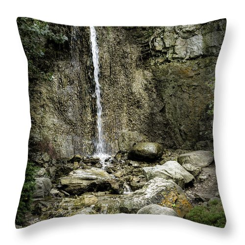 Michigan Throw Pillow featuring the photograph Mackinaw City Park Waterfalls by Timothy Hacker
