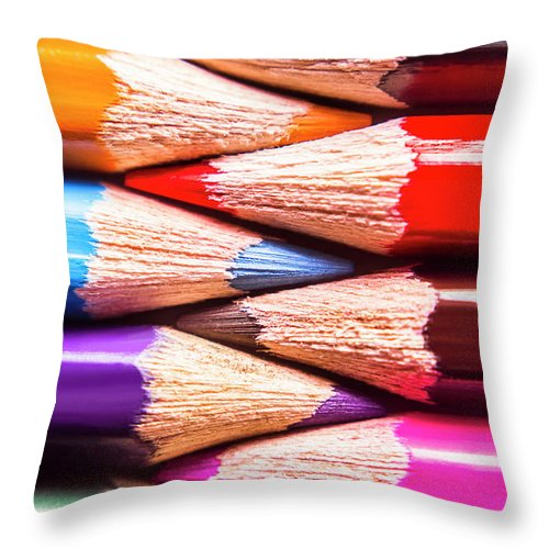 Pencil Throw Pillow featuring the photograph Macro Coloured Pencil Crossover by Jorgo Photography - Wall Art Gallery