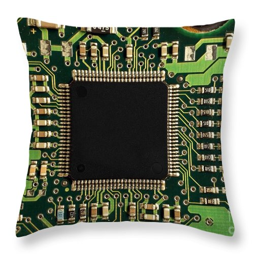 Computer Throw Pillow featuring the photograph Macro Image Of A Hard Disk Controller by Yali Shi