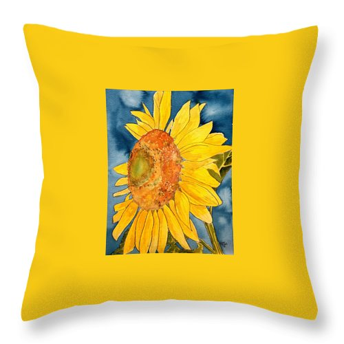 Sunflower Throw Pillow featuring the painting Macro Sunflower Art by Derek Mccrea